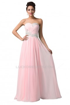 A-Line Sweetheart Beaded Long Pink Chiffon Prom Evening Formal Dresses ED011616