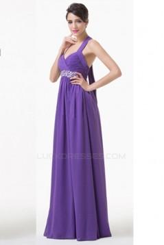 A-Line Halter Beaded Long Purple Chiffon Prom Evening Formal Bridesmaid Dresses ED011617