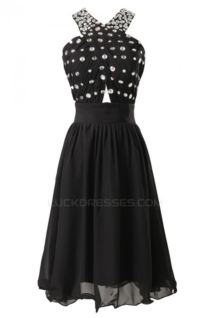 A-Line Beaded Short Black Chiffon Prom Evening Bridesmaid Dresses ED011618