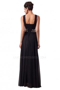 Beaded Long Black Chiffon Prom Evening Formal Dresses ED011620