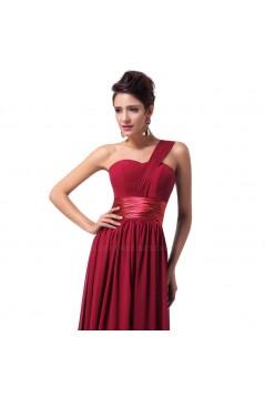 A-Line One-Shoulder Long Chiffon Prom Evening Bridesmaid Dresses ED011621