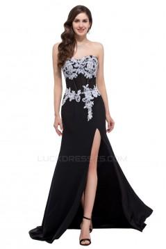 Elegant Sweetheart Split-Front Long Black Chiffon Prom Evening Formal Dresses ED011625