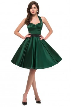 A-Line Halter Short Satin Prom Evening Bridesmaid Dresses ED011627