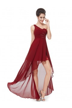High Low One-Shoulder Beaded Chiffon Prom Evening Bridesmaid Dresses ED011628