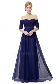A-Line Off-the-Shoulder Half Sleeve Long Chiffon Prom Evening Formal Dresses ED011629
