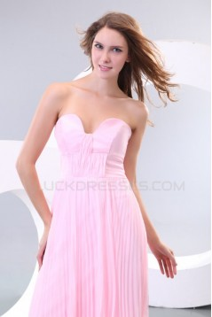 A-Line Sweetheart Pleated Long Pink Chiffon Prom Evening Formal Party Dresses ED010163