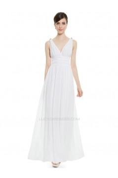 A-Line V-Neck Long Chiffon Prom Evening Formal Bridesmaid Dresses ED011630