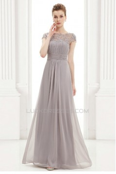 A-Line Cap-Sleeve Lace and Chiffon Long Mother of the Bride Dresses Evening Formal Dresses ED011633