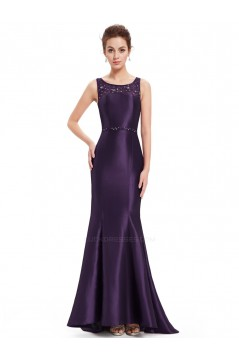 Trumpet/Mermaid Beaded Lace and Satin Long Blue Prom Evening Formal Dresses ED011634