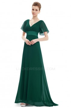 A-Line V-Neck Long Chiffon Mother of the Bride Dresses Evening Formal Dresses ED011635
