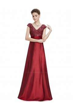 A-Line V-Neck Cap-Sleeve Long Blue Prom Evening Formal Dresses ED011638
