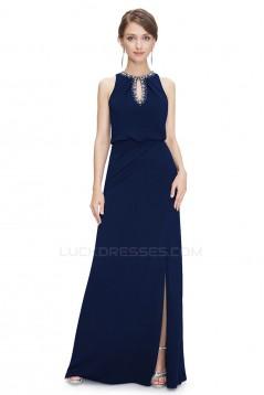 Sheath/Column Jewel Beaded Long Chiffon Prom Evening Formal Dresses ED011639