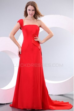 Long Red One-Shoulder Prom Evening Formal Party Dresses ED010164