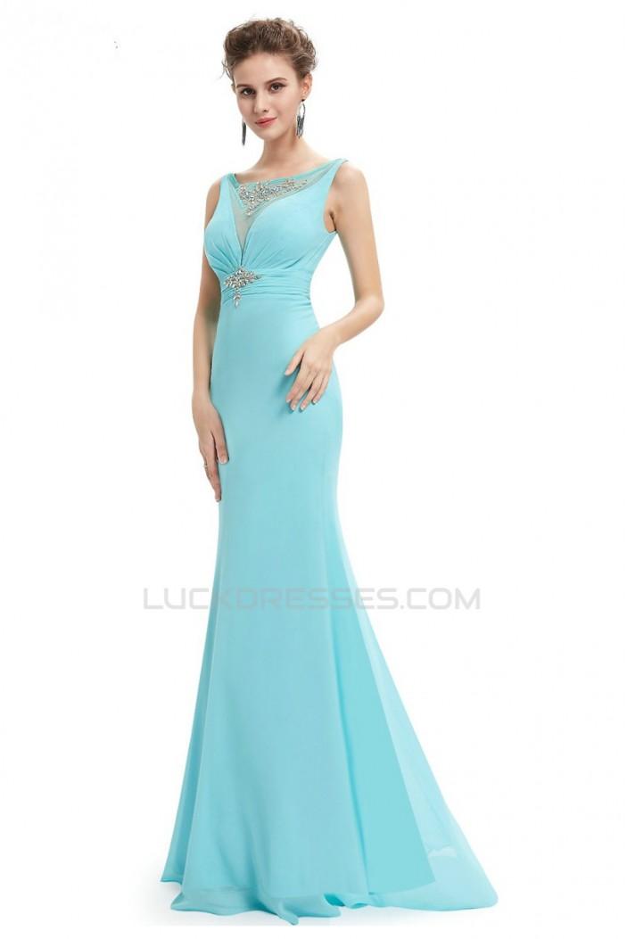 Trumpet/Mermaid Beaded Long Blue Chiffon Prom Evening Formal Dresses ED011640