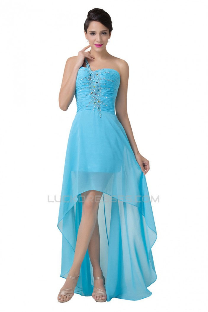 High Low One-Shoulder Short Beaded Chiffon Prom Evening Formal Dresses ED011642