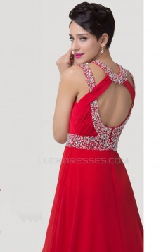 Sheath/Column Beaded Long Red Chiffon Prom Evening Formal Dresses ED011643