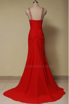 Elegant Beaded Long Red Chiffon Prom Evening Formal Dresses ED011644