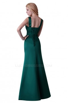 Long Green Satin Prom Evening Bridesmaid Dresses ED011646