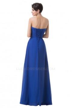 A-Line Sweetheart Long Blue Chiffon Prom Evening Bridesmaid Dresses ED011647