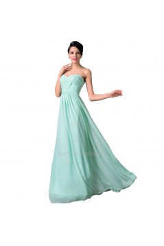 A-Line Sweetheart Long Mint Green Chiffon Prom Evening Bridesmaid Dresses ED011648
