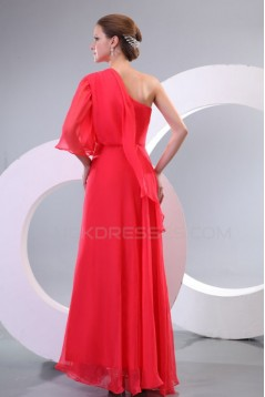 Long Red One-Shoulder Chiffon Prom Evening Formal Party Dresses ED010165