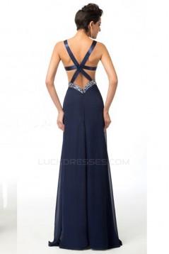 Sheath/Column Beaded Split-Front Long Chiffon Prom Evening Formal Dresses ED011650