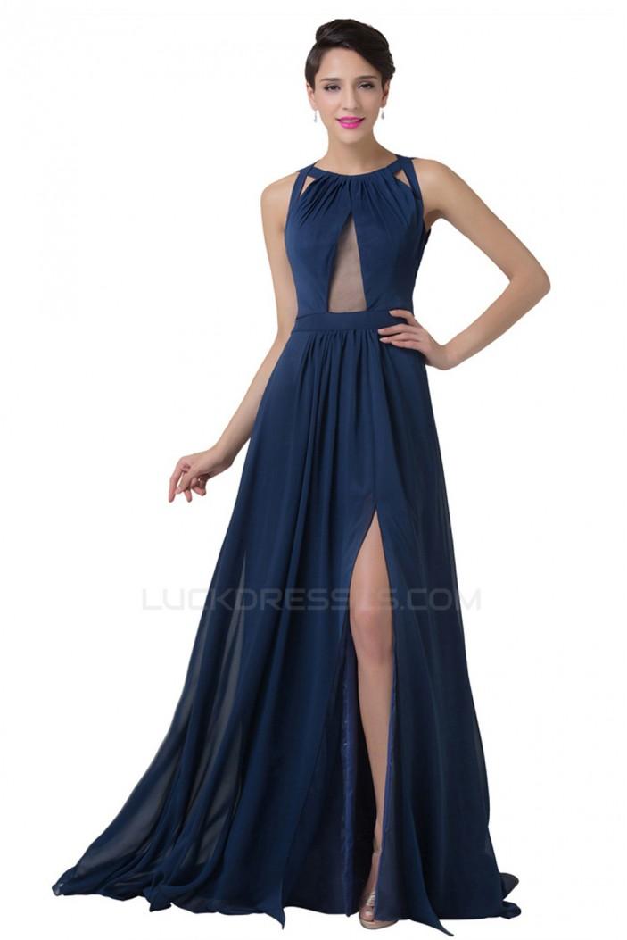 A-Line Split-Front Long Chiffon Prom Evening Formal Dresses ED011652
