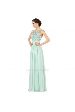 A-Line Bateau Beaded Long Chiffon Prom Evening Formal Dresses ED011654