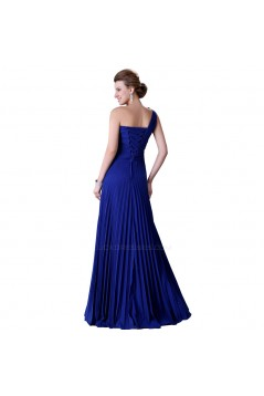 A-Line One-Shoulder Pleated Long Blue Chiffon Prom Evening Bridesmaid Dresses ED011656