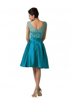 A-Line Bateau Lace and Satin Short Prom Evening Formal Bridesmaid Dresses ED011657