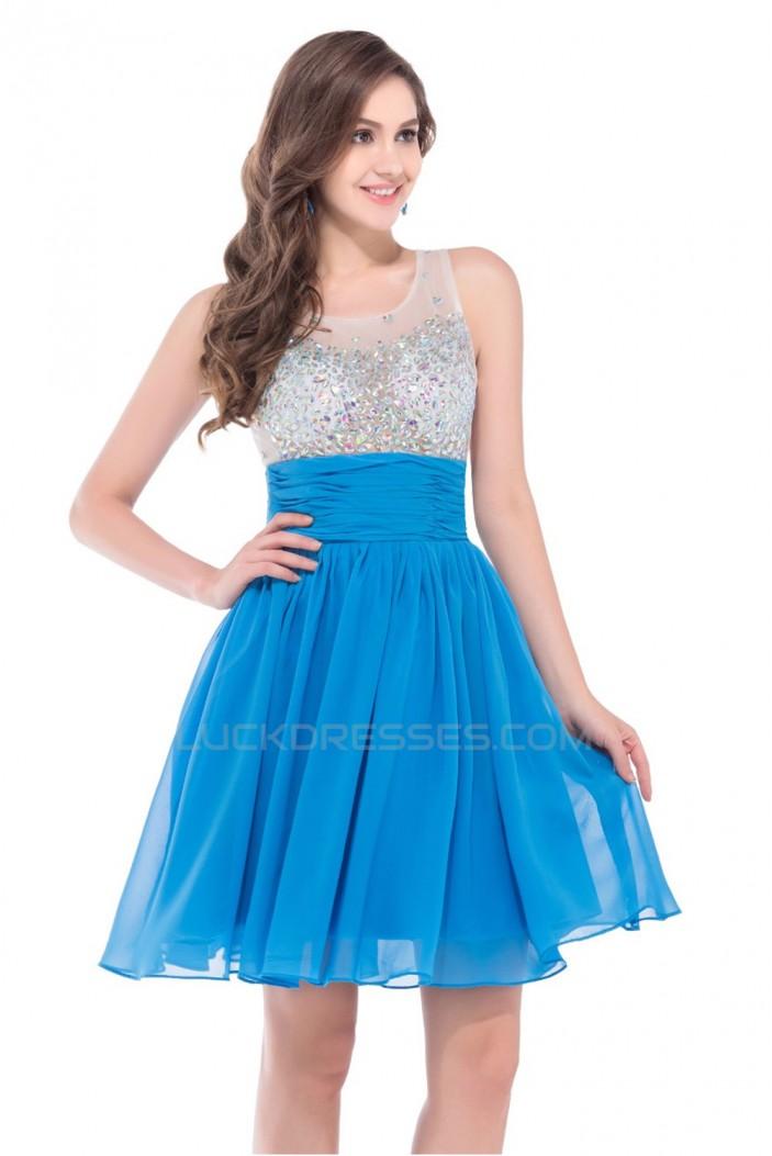 A-Line Beaded Short Chiffon Prom Evening Cocktail Dresses ED011658