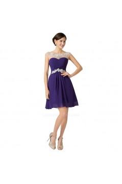 A-Line Bateau Beaded Short Purple Chiffon Prom Evening Cocktail Dresses ED011659