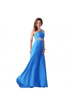 A-Line One-Shoulder Beaded Long Blue Chiffon Prom Evening Formal Dresses ED011660