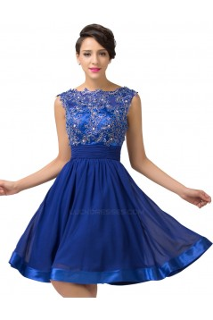 A-Line Bateau Beaded Applique Short Blue Prom Evening Formal Dresses ED011661