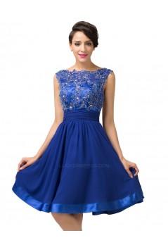 A-Line Bateau Beaded Applique Short Blue Prom Evening Formal Dresses ED011661