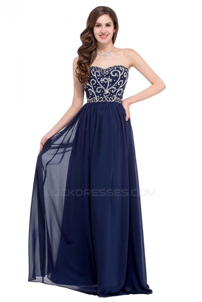 Elegant A-Line Sweetheart Beaded Long Chiffon Prom Evening Formal Dresses ED011662