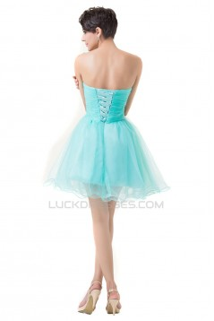 A-Line Sweetheart Beaded Short Blue Prom Evening Cocktail Dresses ED011663