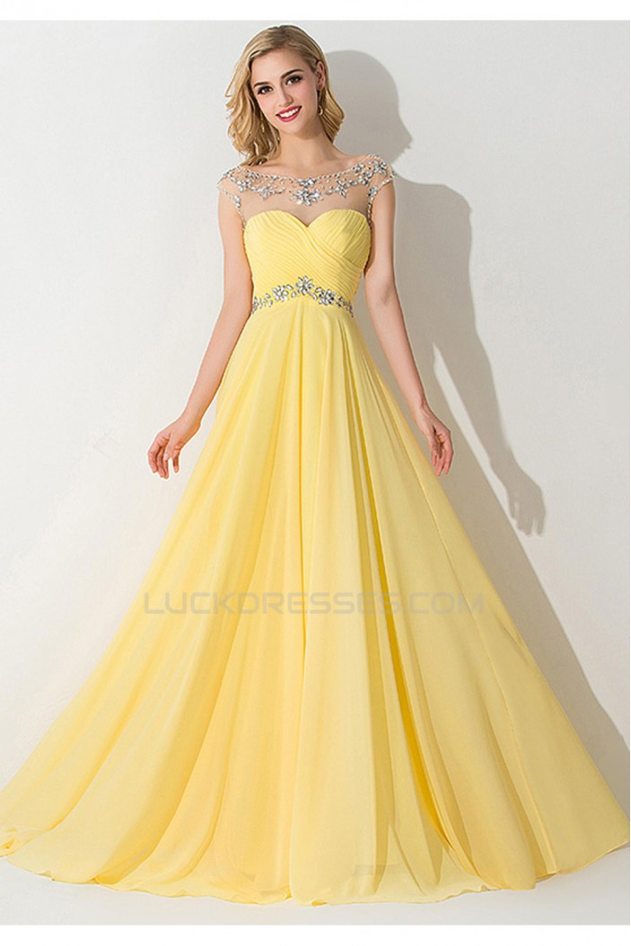 A-Line Bateau Long Yellow Chiffon Prom Evening Formal Dresses ED011667
