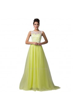 A-Line Bateau Mint Green Lace Long Prom Evening Formal Dresses ED011668