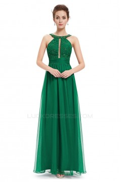 A-Line Lace and Chiffon Long Prom Evening Formal Dresses ED011669