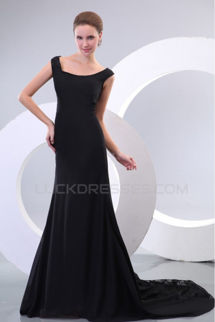 Long Black Chiffon and Lace Prom Evening Formal Party Dresses ED010167
