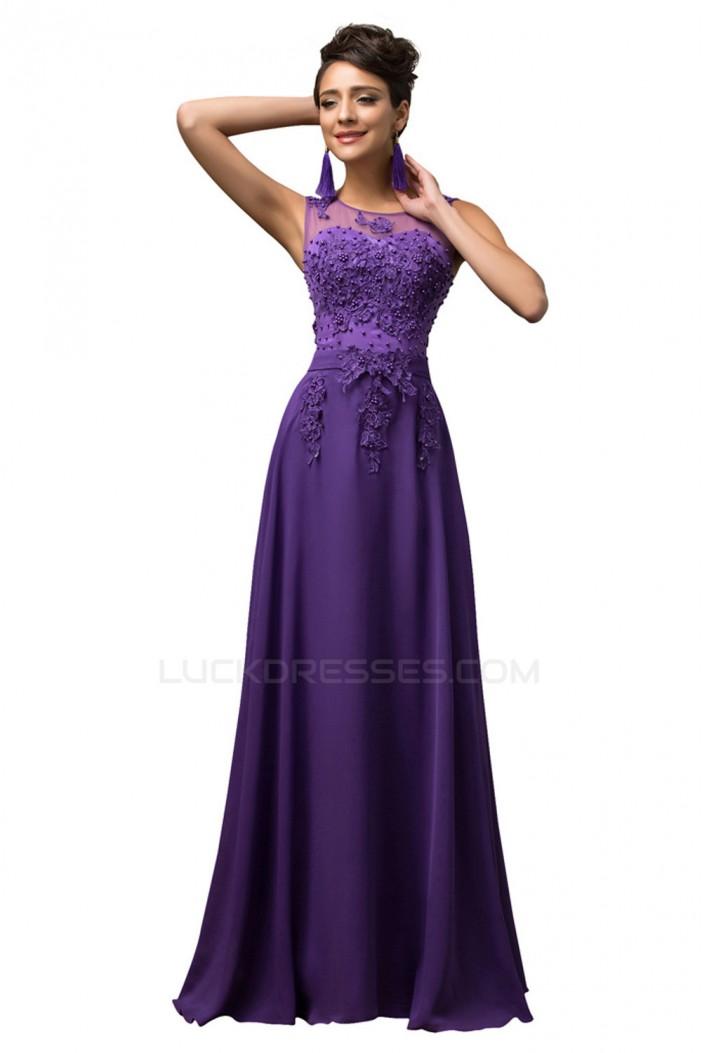 A-Line Beaded Applique Long Chiffon Prom Evening Formal Dresses ED011670