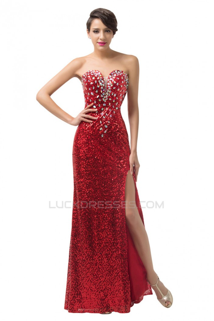 Sheath Sweetheart Sequins Beaded Long Prom Evening Formal Dresses ED011671