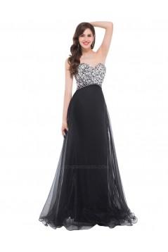 A-Line Sweetheart Beaded Long Black Prom Evening Formal Dresses ED011672