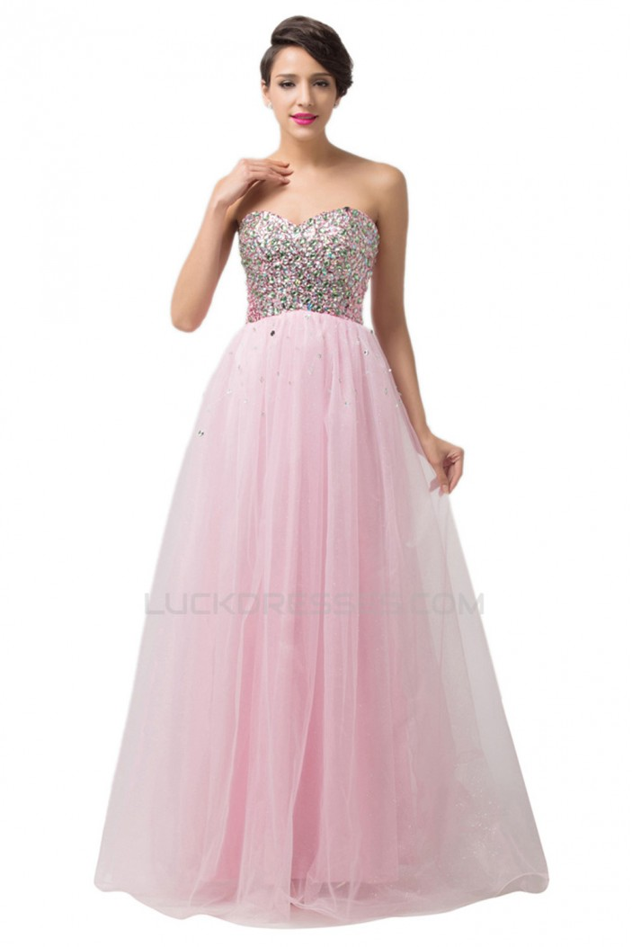 A-Line Sweetheart Beaded Long Pink Tulle Prom Evening Formal Dresses ED011676