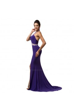Trumpet/Mermaid Halter Beaded Long Chiffon Prom Evening Formal Dresses ED011677