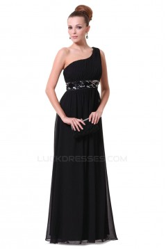 A-Line One-Shoulder Beaded Long Chiffon Prom Evening Formal Dresses ED011678