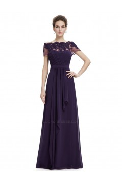 A-Line Off-the-Shoulder Beaded Applique and Chiffon Long Prom Evening Formal Dresses ED011679