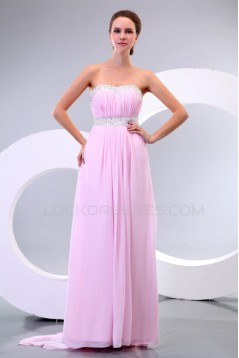 Empire Long Pink Chiffon Beaded Prom Evening Formal Party Dresses/Maternity Evening Dresses ED010168