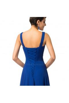 A-Line V-Neck Beaded Long Blue Chiffon Prom Evening Formal Dresses ED011682